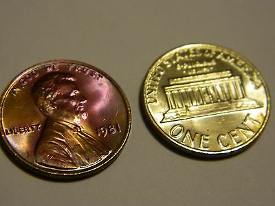 1981 Lincoln Cent BU MS Uncirculated Rainbow-Silver Toning 2 Coin Lot