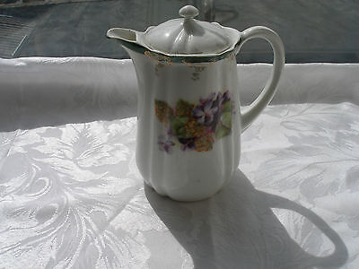 Purple Lilac Green Floral Design Small Tea Coffee Water Pot Vintage Unbranded