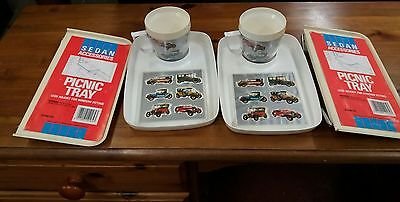 2 x Vintage classic car window trays plus 2 x picnic tray and cup