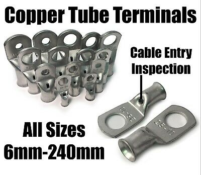 Copper Tube Terminals Crimp / Solder Cable Lugs Eyelets Battery 6mm² - 240mm²