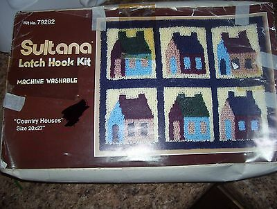 """vintage Sultana latch hook rug craft kit country houses 20"""" x 27"""" color printed"""