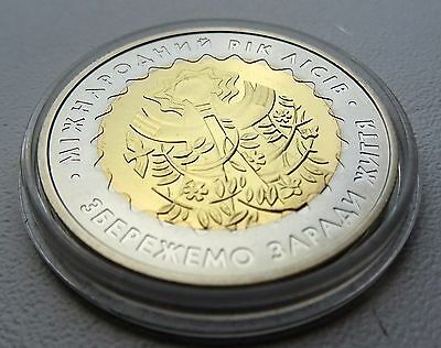 2011 Ukraine Coin 5 UAH International Year of Forests Bi-Metallic UNC