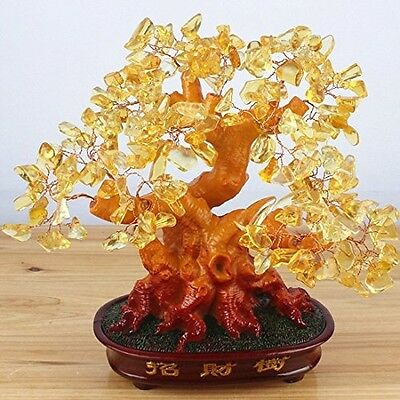 "Citrine Chinese Money Tree 9.5"" Feng Shui Gem Stone Wealth Lucky Charm Catcher"