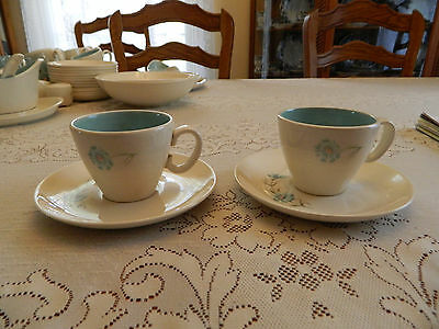 Taylor Smith & Taylor Ever Yours Boutonierre (2) Teacups & Saucers MC