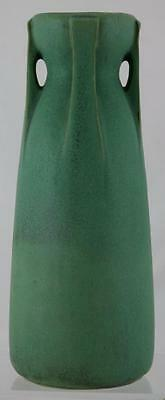 "Teco 11"" Arts & Crafts Buttressed 4-Handle Vase In Matte Green/charcoal Mint"