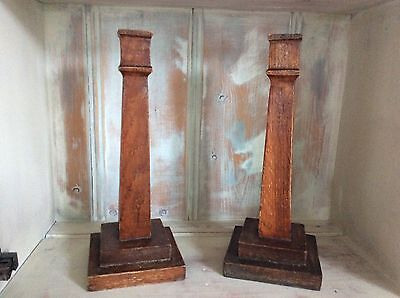 Lovely Pair Of Antique Wooden Candlesticks.. Primitive-Rustic Very Old