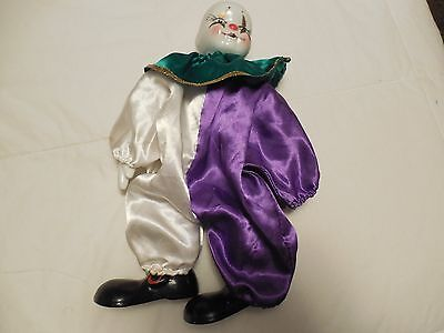 """Shantou Porcelain clown doll 10 3/4"""" tall no hat Import & Exports Made in China"""