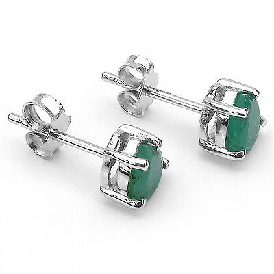 Natural Emerald 7x5mm Pears .925 Sterling Silver Stud earrings