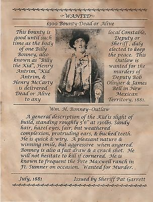 Billy The Kid~(I Combine Shipping)~Garrett,outlaw,old West,poster,wanted