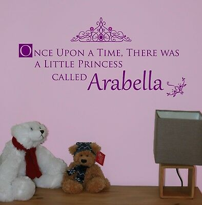 Once upon a time Princess Personalised Name Sticker Wall Quote Nursery/Bedroom