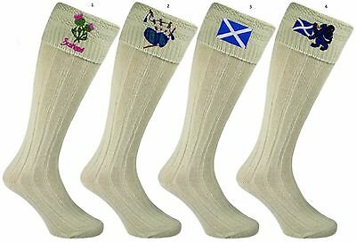Embroidered  Mens 65% Wool Scottish Highland Wear Kilt Hose Socks  Size: 6-11