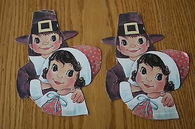 2 Vintage Pilgrim Thanksgiving Cardboard Cut-Outs