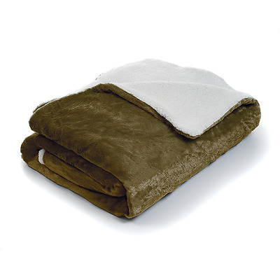 Lavish Home Fleece Blanket with Sherpa Backing, King, Brown