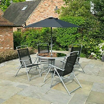 Garden Patio Black Furniture Set 6Pc 4 Seater Outdoor Dining Set Parasol Table