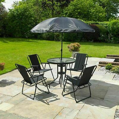 GARDEN PATIO FURNITURE SET 6 PC BLACK OUTDOOR 4 SEAT ROUND TABLE PARASOL Wido