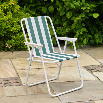 Folding Lightweight Chair Green Stripe Garden Outdoor Picnic Camping Portable
