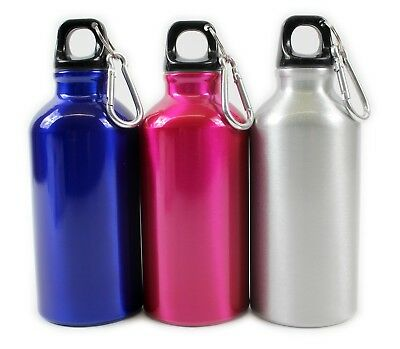 Pink And Blue Aluminium Drinks Bottles With Carabiner Clip Sports 400Ml School