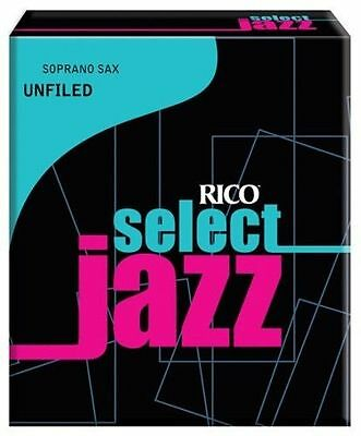 Rico Jazz Select 3 Soft Unfiled Soprano Saxophone Reeds - 1 Box - 10 Reeds