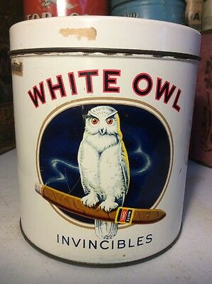 Vintage White Owl Invincibles Cigars Tobacco Tin Can Advertising Clean Nice Look