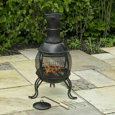 Black Steel Outdoor Chiminea Bronze Garden Heat Bbq Log Wood Burner Patio Heater
