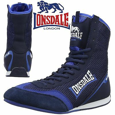 Lonsdale Mitchum Boxing Boots Navy/Blue Trainers Shoes Classic Sportswear