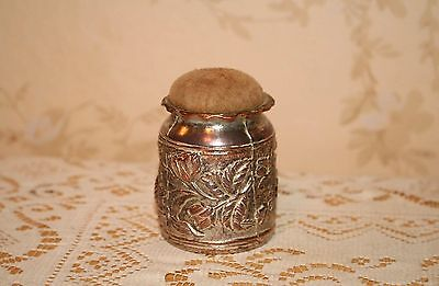 Wonderful Antique Milk Can Pin Cushion German Hanau Silver
