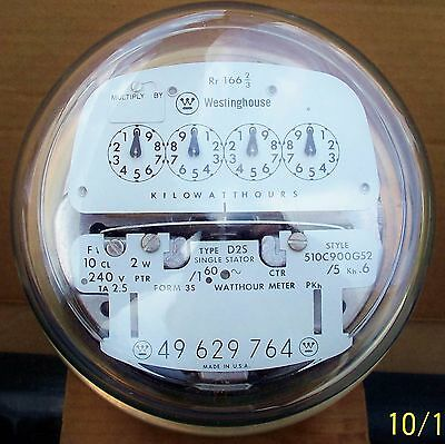 Westinghouse Electric Meter Type D2S, 2.5amp, 240 volt 2wire Form 3 Working Cond