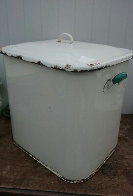 Vintage Large Enamel Cream Green Bread / Pet Food Bin - Shabby Chic Storage