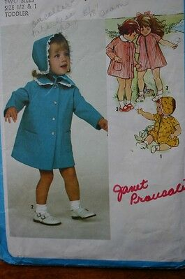 Simplicity 9345 Infant Toddler Dress Coat & Hat Pattern Size 6 Mo & 1