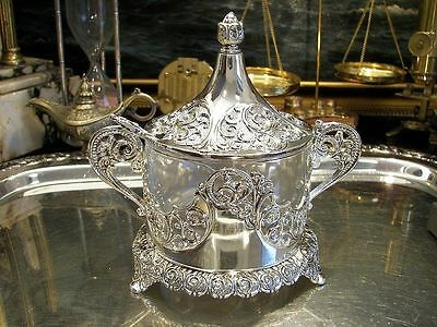 Silver Plate Sugar Bowl Ornate Openwork Vintage Antique Old Styled Gift