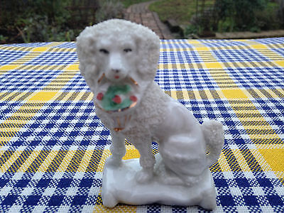"Rare Antique ""Seated Poodle & Basket of Painted Flowers"" Porcelain Dog Figurine"