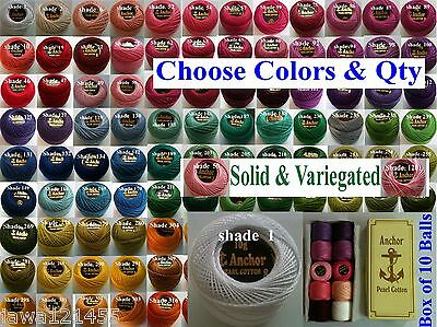 ANCHOR Crochet Soft Cotton Yarn Knitting Thread Solid and Variegated Choose Colr