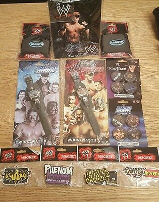 WWE  WESTLING PACK - 2 Wristbands - 8 Badges - 2 Watches - 4 magnets - frame