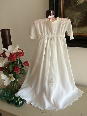 Vintage Christening Gown Silk Raised Work Jour Duchess Lace French Heirloom A1