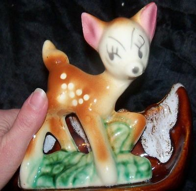 Vtg 50s BAMBI FAWN DEER Shawnee Pottery USA Planter Trinket Dish Figure Figural