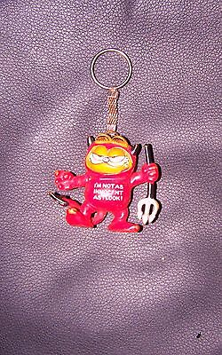 """Garfield Cat RED DEVIL Keyring 1979/81 RARE by BULLY WEST GERMANY """"eeez great"""" !"""