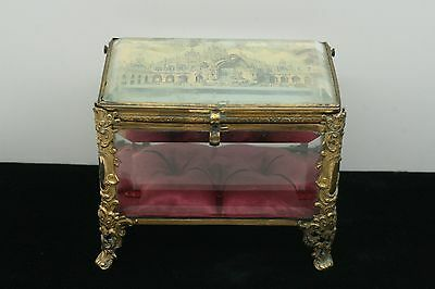 Exquisite French  Bevelled Glass Casket Vitrine Jewelry Display  Box
