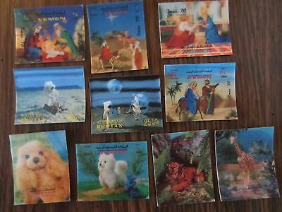 10 Ten Yemen and Bhutan 3D Stamps / Christmas Nativity Animals Space Exploration