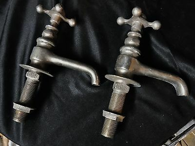 Antique early Pair Nickel Brass Hot Cold Sink Faucets Bathroom Pedestal Slate
