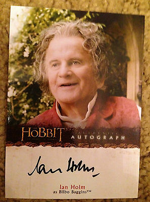 The Hobbit An Unexpected Journey Autograph Card A14 Ian Holm as Bilbo Baggins