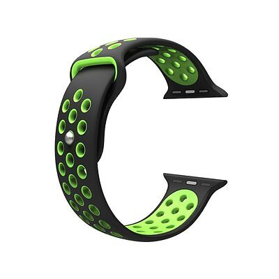 Apple Watch Band sport Silicone Strap Bracelet Series 1 2 Black Green 42mm LARGE