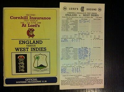 England v West Indies 1988 Cricket Programme and Scorecard Lord's