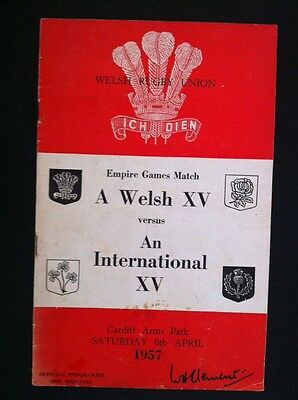 Wales Rugby Union Programme Empire Games Welsh XV v International XV 1957