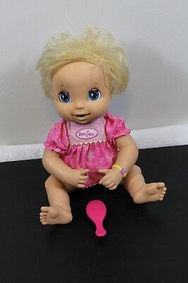 BABY ALIVE Doll Soft Face 2006 Blonde Hair Hasbro For Parts Repair Diaper Dress