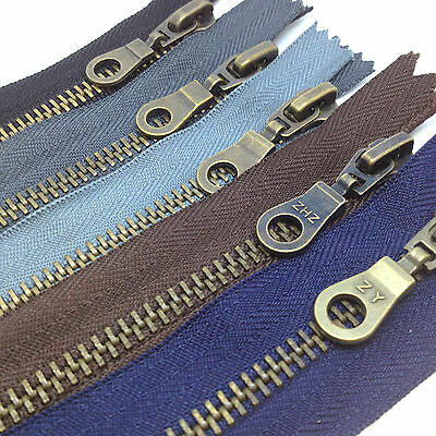 Antique Brass Closed End No5 Metal Zip  - Heavy Duty Zipper, Black, Brown, Navy