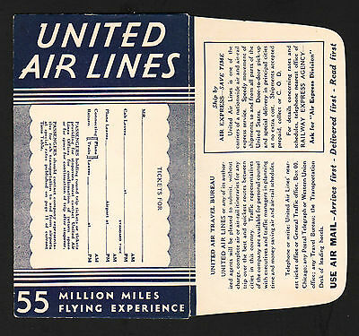 OPC 1937 United Air Lines Ticket Jacket Route Map