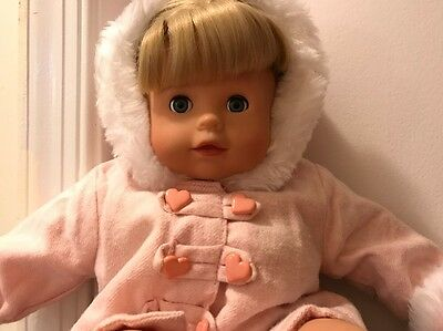 "GUC 16"" GOTZ SOFT-BODY PLAY DOLL BLONDE HAIR & BLUE EYES w BITTY BABY PINK COAT"