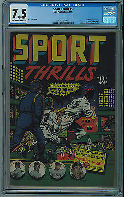 Sport Thrills #15 Cgc 7.5 Rare L.b. Cole Cover Sports Cvr Ow/w Pgs 1951