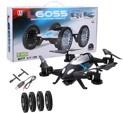 L6055 2 IN 1 RC Quadcopter Drone & Car 2.4G 6-Axis UFO Free extra battery