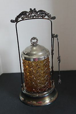 Vintage Button & Daisy Brown Amber Glass Pickle Castor In Ornate Stand w/Tongs
